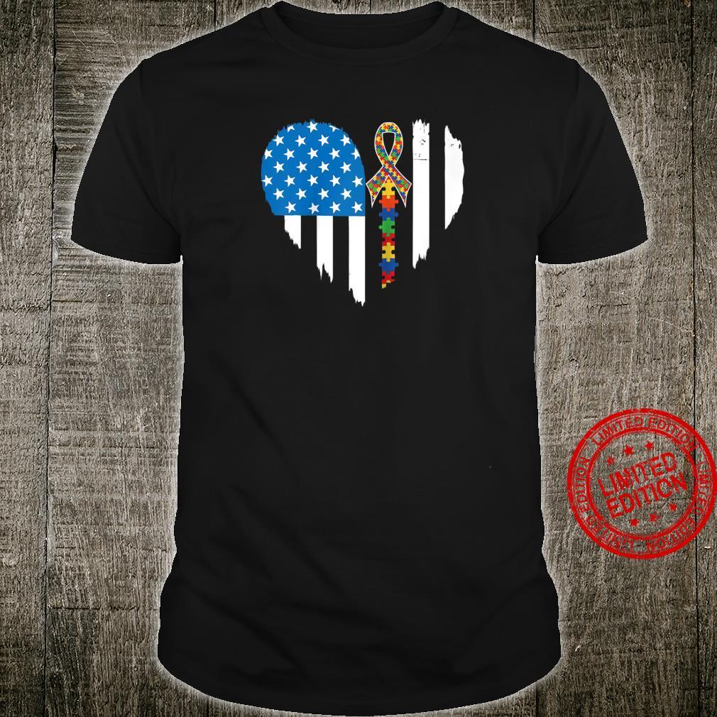 Autism Awareness Shirt American Flag Heart Shirt