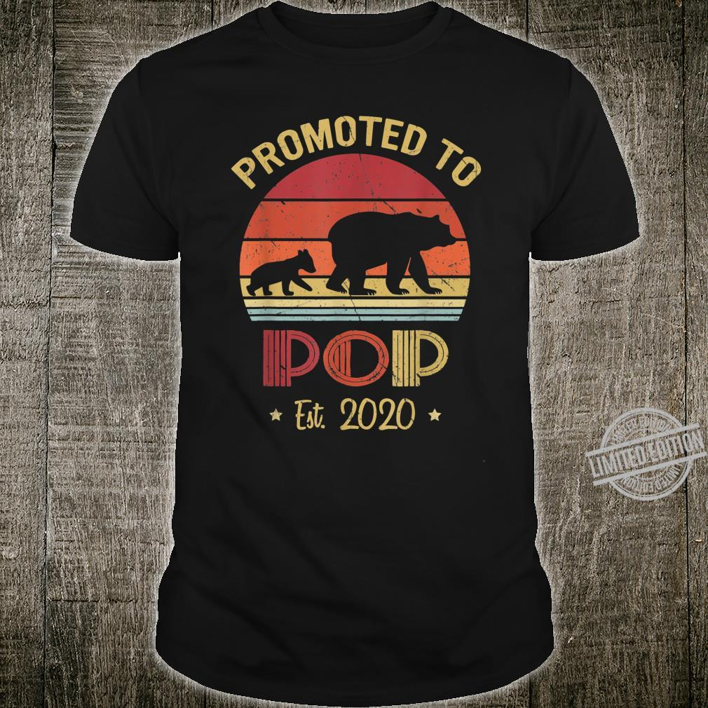 Mens Vintage Bear Promoted to Pop Est 2020 Father's Day Shirt