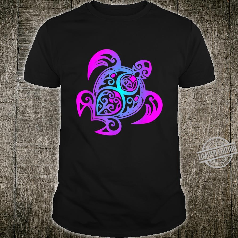 Ozean Tauchen Bunte Farben Tribal Stil Schildkröte Shirt