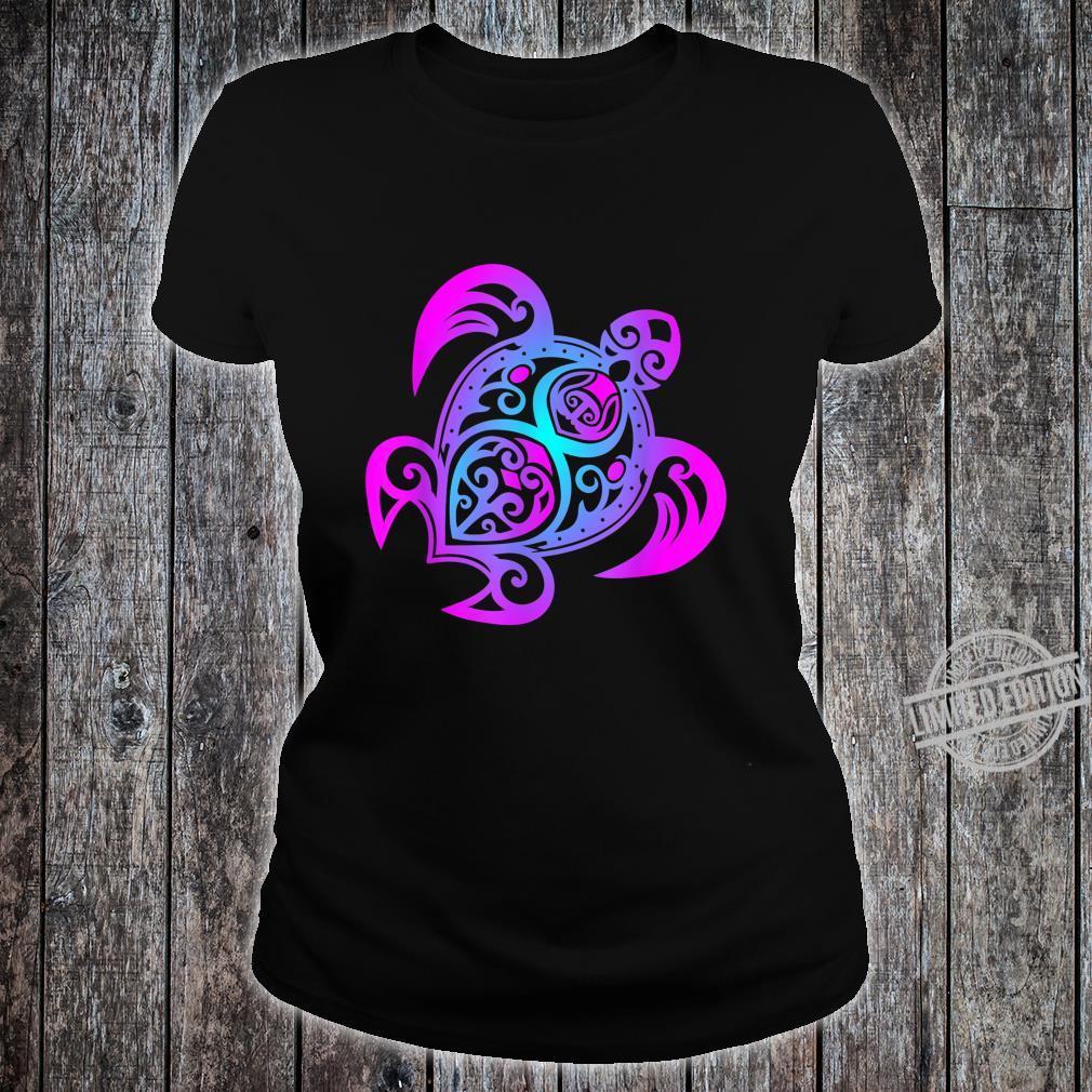 Ozean Tauchen Bunte Farben Tribal Stil Schildkröte Shirt ladies tee