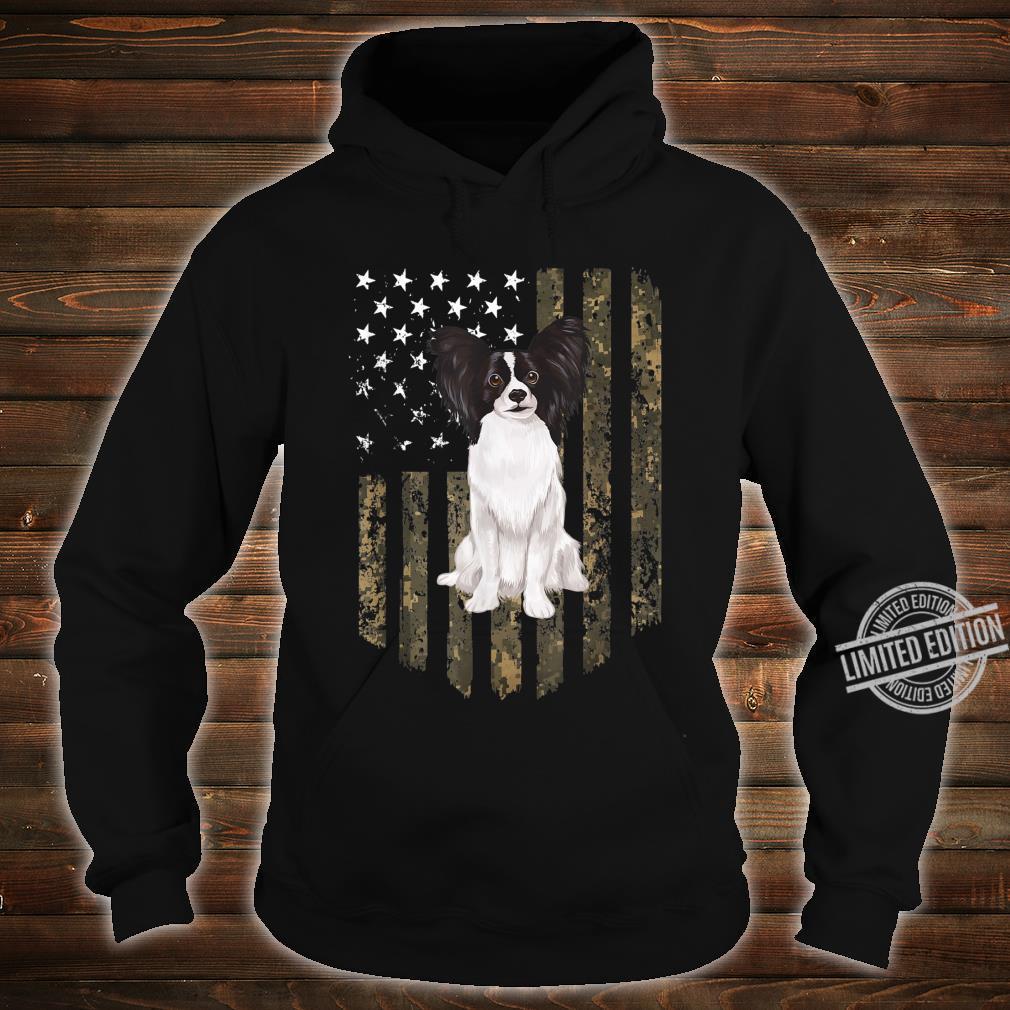 Papillon Zwergspaniel Camouflage Tarnfarbe Shirt hoodie