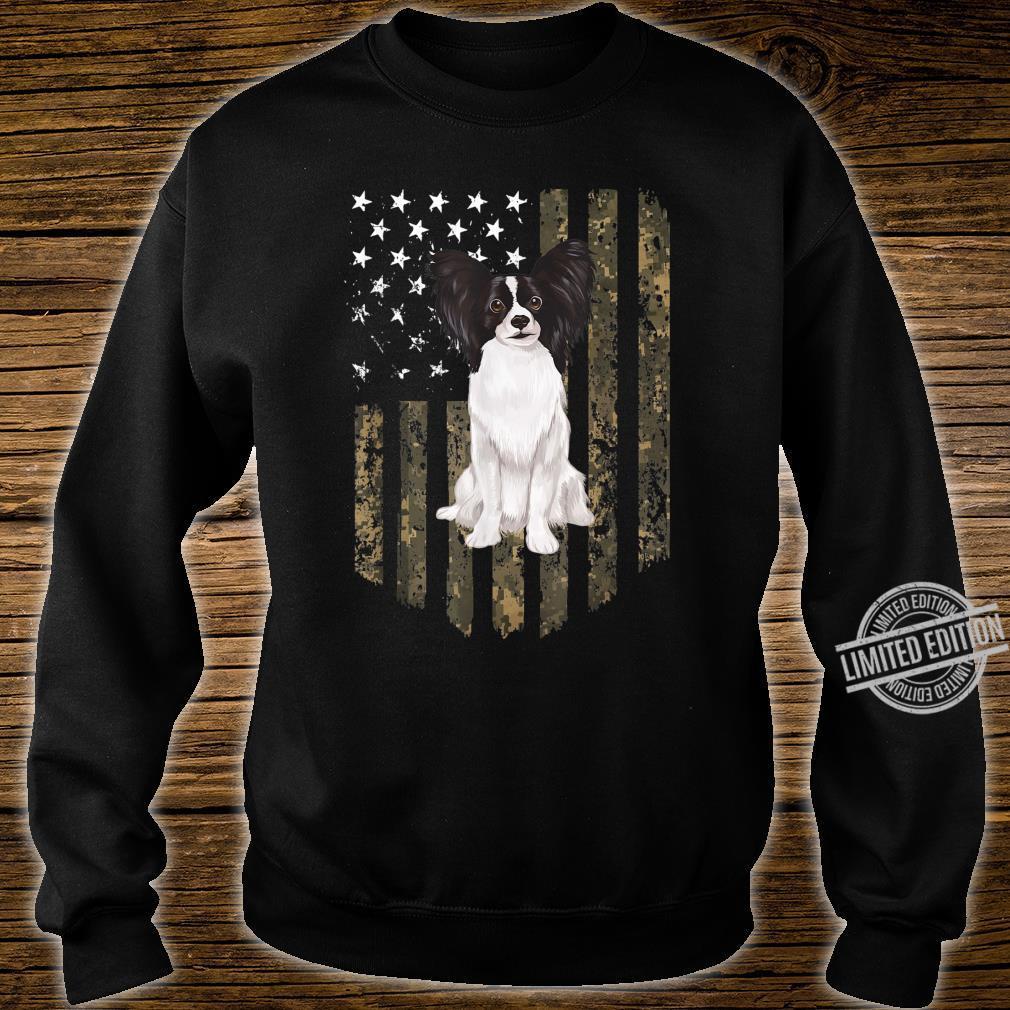Papillon Zwergspaniel Camouflage Tarnfarbe Shirt sweater