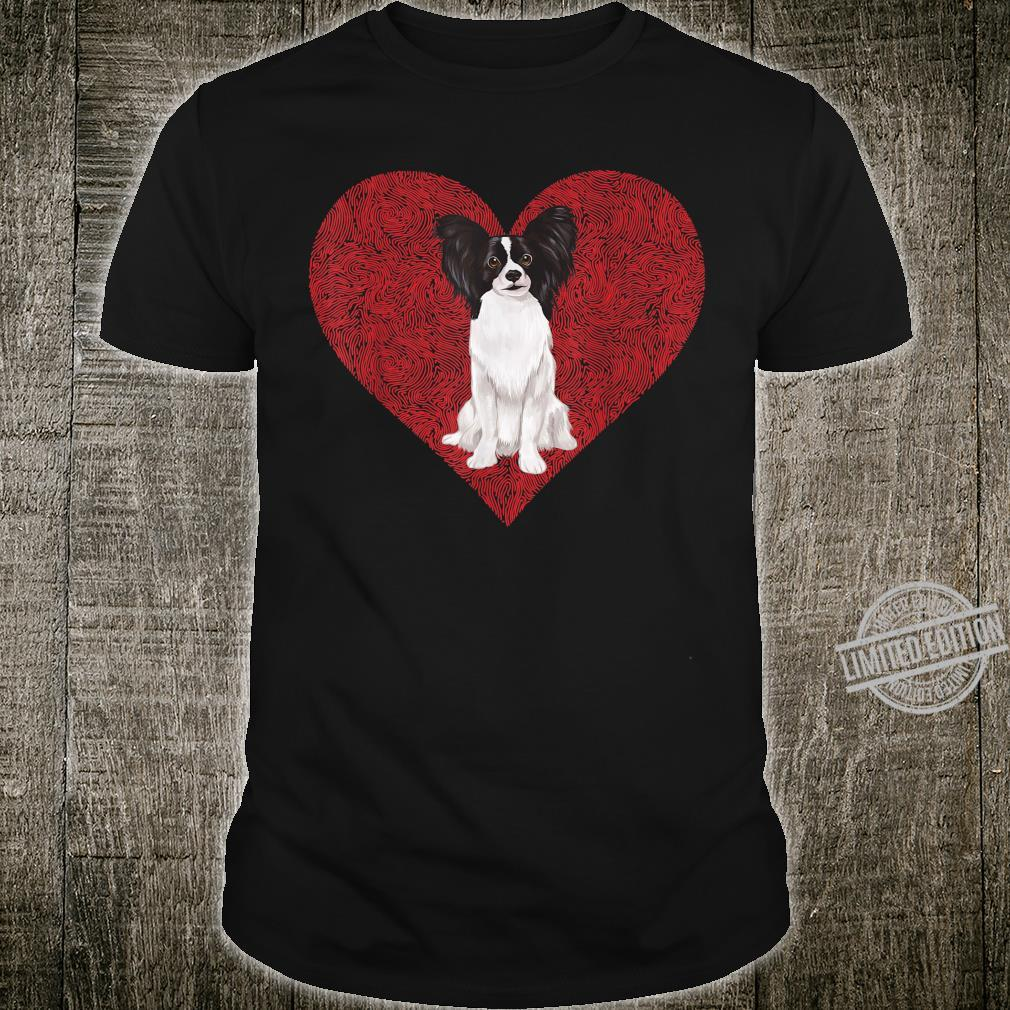 Papillon Zwergspaniel Valentinstag Herz Shirt