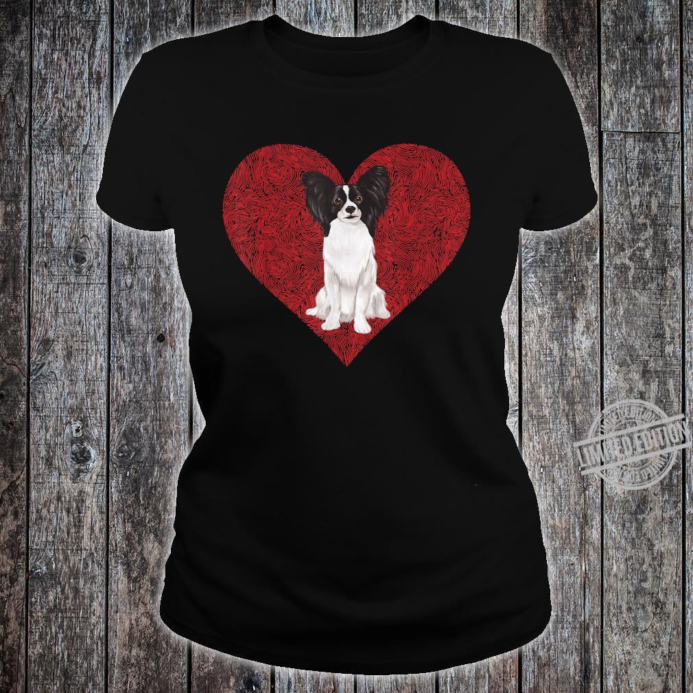Papillon Zwergspaniel Valentinstag Herz Shirt ladies tee