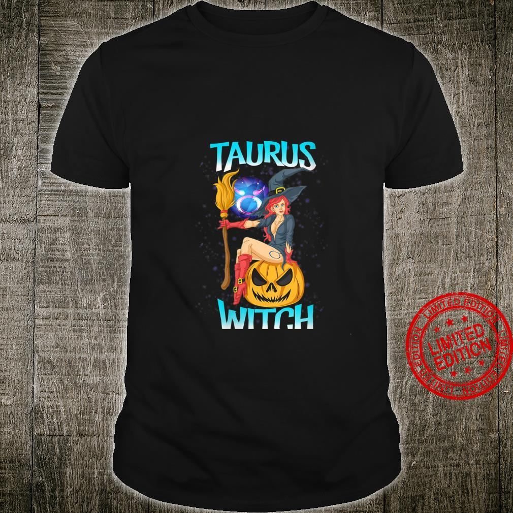 Womens Taurus Witch & Cute Pumpkin & Girls Astrology Shirt
