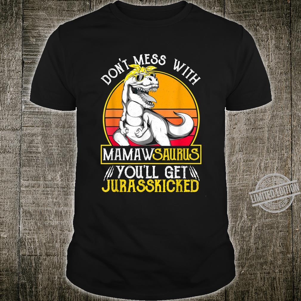 Womens Vintage Jurasskicked Mamaw Saurus Shirt Dino Grandma Shirt